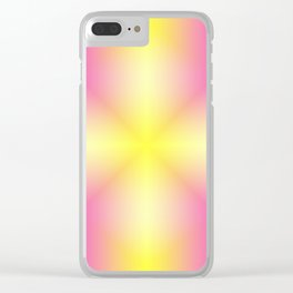 Yellow Cross Pink Star Clear iPhone Case