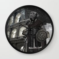 gladiator Wall Clocks featuring Neapolitan Mastiff Gladiator  by Barruf