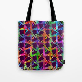 Cool watercolor rainbow brush plaid. Bright print Tote Bag