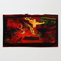 boxing Area & Throw Rugs featuring Boxing Sagittarius by Genco Demirer