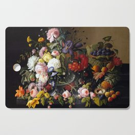 Severin Roesen Still Life, Flowers and Fruit Cutting Board