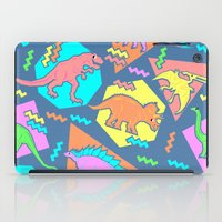 yetiland iPad Cases featuring Nineties Dinosaur Pattern by chobopop