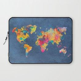 world map blue 2061 #map #worldmap Laptop Sleeve