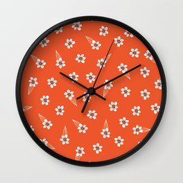 tiny white flowers on red Wall Clock