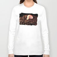 cafe Long Sleeve T-shirts featuring BROWN CAFE by Karl-Heinz Lüpke