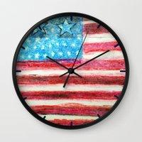 american flag Wall Clocks featuring American Flag by Brontosaurus