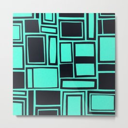 Windows & Frames - Teal Metal Print