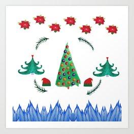 Ho Ho Christmas Tree Art Print
