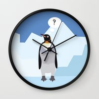 penguin Wall Clocks featuring Penguin by Nir P