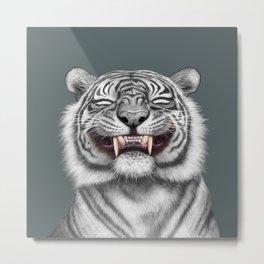 Smiling Tiger - monotone Metal Print