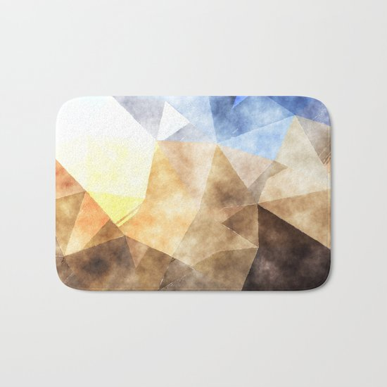 On the fields- Abstract watercolor triangle pattern Bath Mat