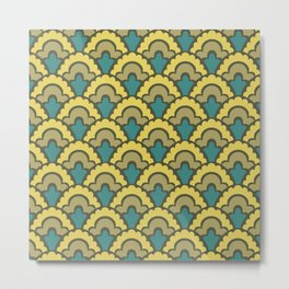Fan Pattern Yellow Teal and Olive Green 308 Metal Print