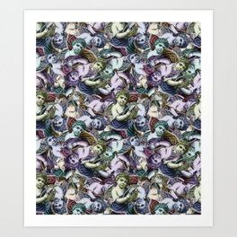 Renaissance Cherub Toss in Jewel Tones Art Print