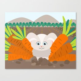 Bunny and carrots Canvas Print