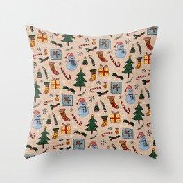 Christmas Holiday Pink Throw Pillow