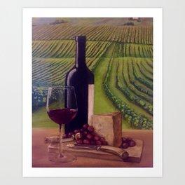 Wine in the Vineyard Art Print