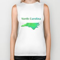 north carolina Biker Tanks featuring North Carolina Map by Roger Wedegis