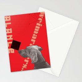 Constructivist Weimaraner Balancing Black Cube Stationery Cards
