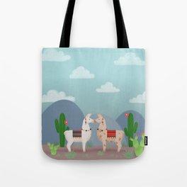 Cute Llamas Illustration Tote Bag