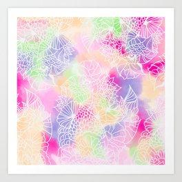 Modern white floral illustration on bright watercolor brushstrokes Art Print