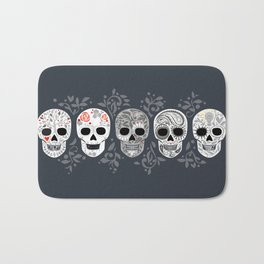 Celebracion de Gris_Calaveras Sugar Skulls line_RobinPickens Bath Mat