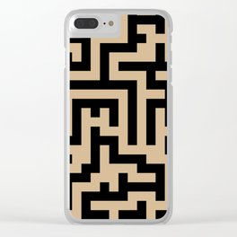 Black and Tan Brown Labyrinth Clear iPhone Case
