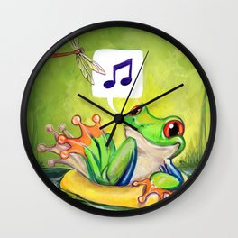 Lazy River Frog Wall Clock
