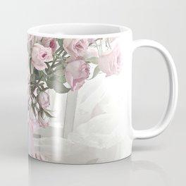 Pastel Roses In Vase - Shabby Chic Roses Pink Aqua Floral Print Home Decor Coffee Mug