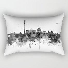 Washington DC Skyline Black and White Rectangular Pillow