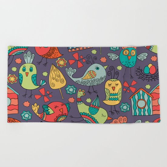Abstract colorful hand drawn floral pattern design Beach Towel