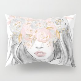 She Wore Flowers in Her Hair Rose Gold by Nature Magick Pillow Sham