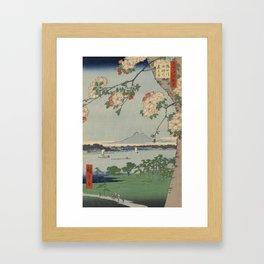 Cherry Blossoms on Spring River Ukiyo-e Japanese Art Framed Art Print