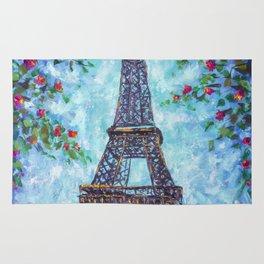 Handmade painting Spring Eiffel Tower Paris in Flowers Original art for Sale. Artist Valery Rybakow Rug
