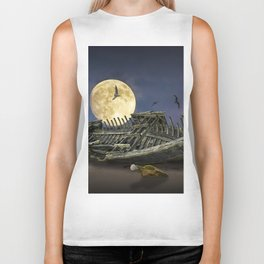 Moon and Wooden Shipwreck with Gulls Biker Tank
