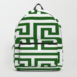 Dark Emerald Greek Key Backpack