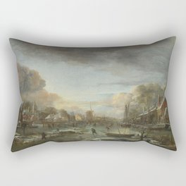 Aert Van Der Neer - A Frozen River By A Town At Evening. Rectangular Pillow