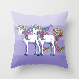 Unicorn Twins Throw Pillow