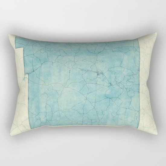 New Mexico State Map Blue Vintage Rectangular Pillow