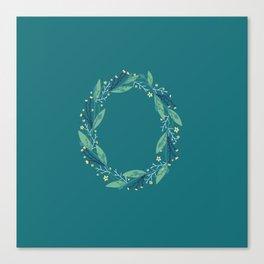 Turquoise flowers alphabet O Canvas Print