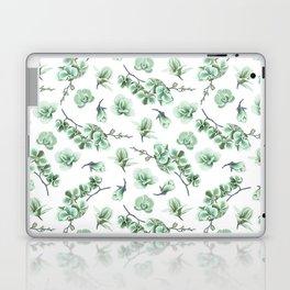 Pastel green watercolor modern orchid floral pattern Laptop & iPad Skin
