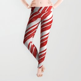 Velvety Red Candy Cane Diagonal Christmas Stripe Leggings