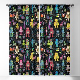 Robots in Space - on black Blackout Curtain