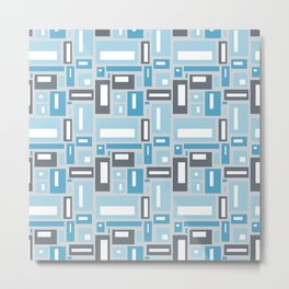 Geometric Pattern in Blue and Gray Metal Print