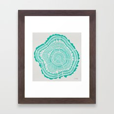 Turquoise Tree Rings Framed Art Print