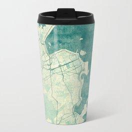 Rio de Janeiro Map Blue Vintage Travel Mug