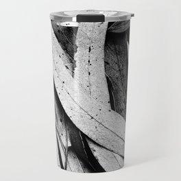 Fallen Eucalyptus Leaves Texture Black and White Travel Mug