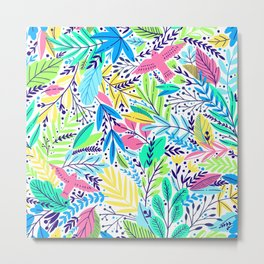 Tropical Afternoon Exotic Floral Pattern With Birds Metal Print