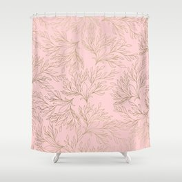 Elegant blush pink faux gold floral leaves Shower Curtain