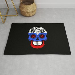 Sugar Skull with Roses and Flag of Russia Rug