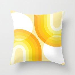 Mid Century Modern Geometric 97 in Mustard Yellow Shades (Sun and Rainbow Abstract) Throw Pillow